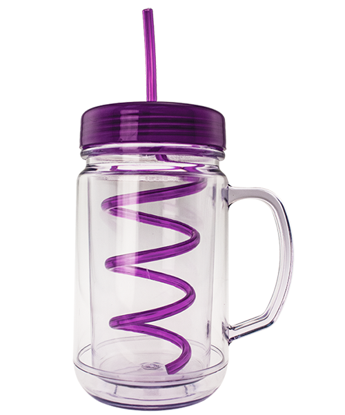 24 ounce clear dual-wall mug in the shape of a handled mason jar, shown with purple, flat, threaded lid and curly straw