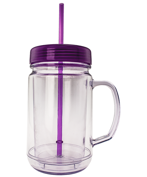 24 ounce dual-wall mug shaped like a handled mason jar with flat, purple, threaded lid and straw