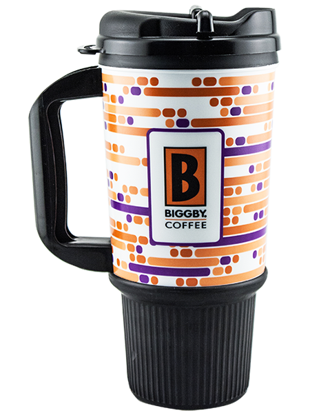 24 ounce dual-wall travel mug, shown with black handle, swivel lid, and ribbed rubber grip base