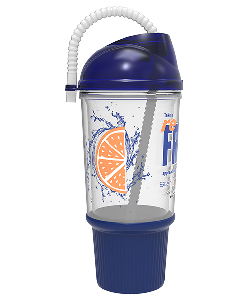 24 ounce clear dual-wall bottle with domed drink-thru lid (shown with corrugated straw) and ribbed rubber grip base
