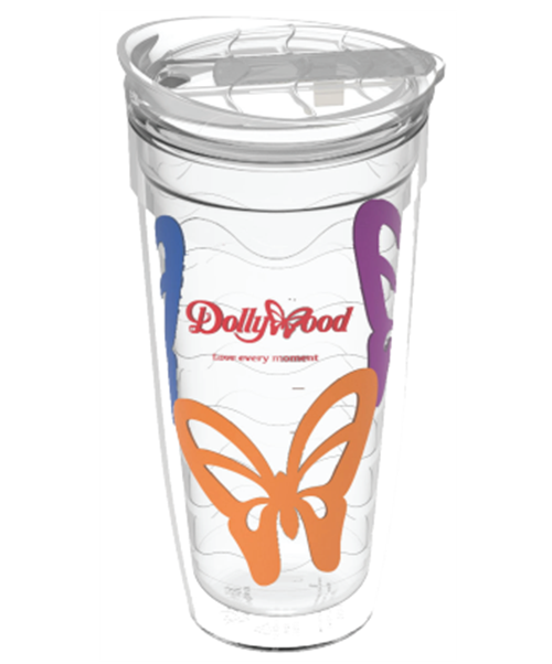 24 ounce clear dual-wall tumbler with wavy-textured liner and clear, push-on slider lid with wavy texture on top