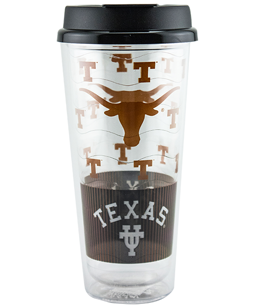 24 ounce clear dual-wall tumbler with wavy-textured liner and black flip-top lid, shown with University of Texas example artwork