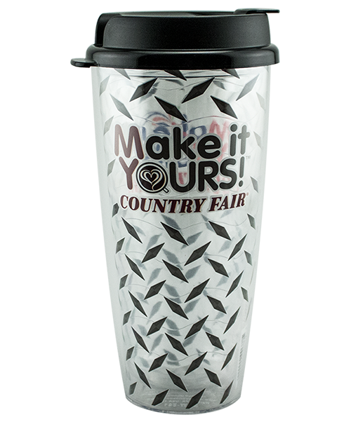 24 ounce clear dual-wall tumbler with wavy-textured liner and black, flip-top lid, shown with County Fair convenience store example artwork