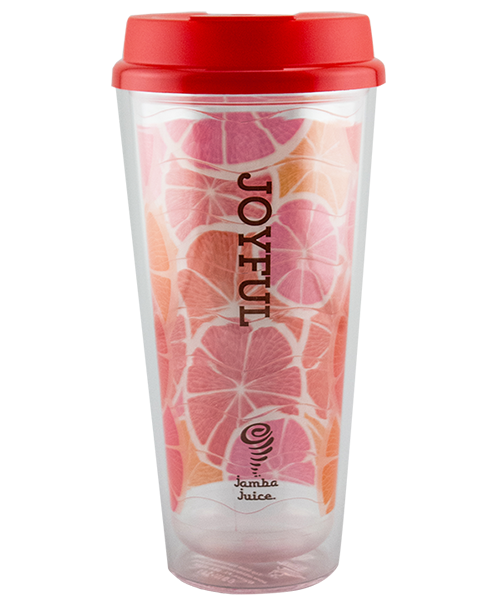 24 ounce dual-wall tumbler shown with clear shell and colorful design on wavy-texture liner and a red flip-top lid