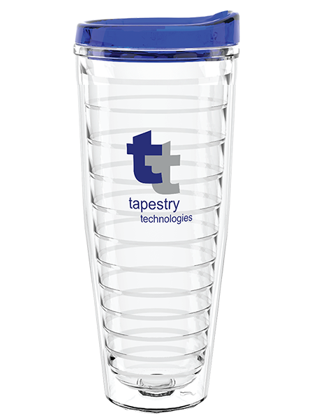 TR-26 26 ounce clear Tritan® dual-walled tumbler with ribbed reinforced liner and push-on, drink-thru lid
