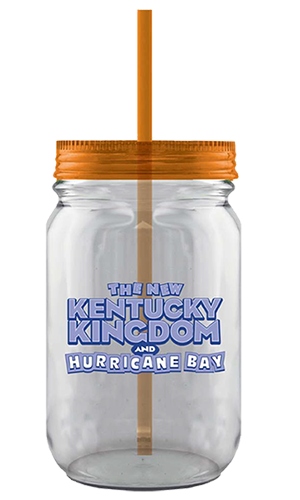 26 ounce clear plastic mason jar with an orange reusable straw inside the flat, threaded lid