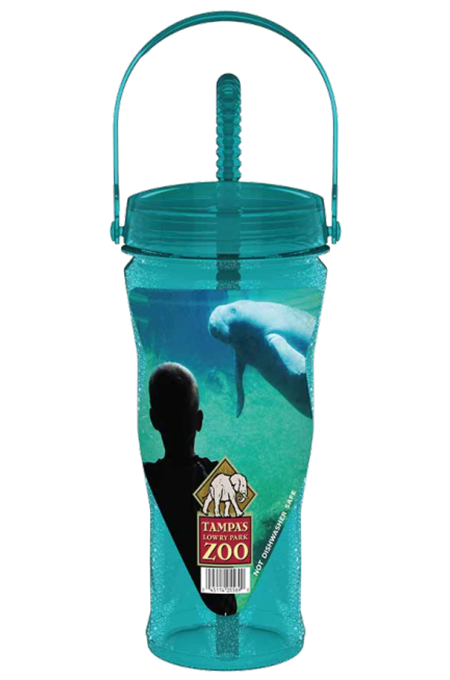 32oz Blow Molded PET Diamond Sipper Bottle with Threaded Lid & Straw