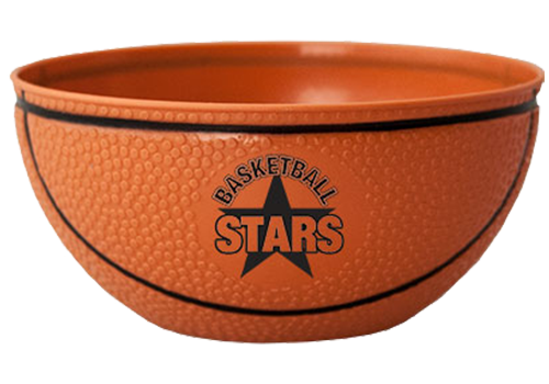 BS10BK 10 ounce textured Basketball Bowl with center imprint area for label or pad-printing