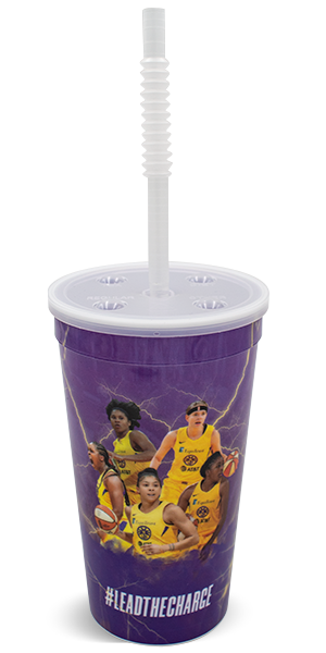 32 ounce thin-wall cup shown with a corrugated straw inserted into the center of the push-on lid with depressible soft drink buttons