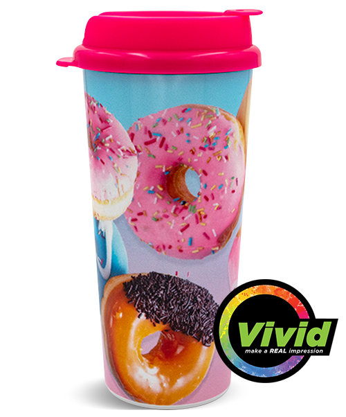 16oz Digital Printed VIVID Collection Double Wall Hot Beverage Tumbler