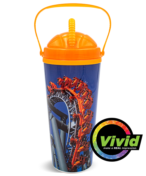 24oz Digital Printed VIVID Collection Double Wall Tumbler with Carry Handle and Threaded Dome Lid