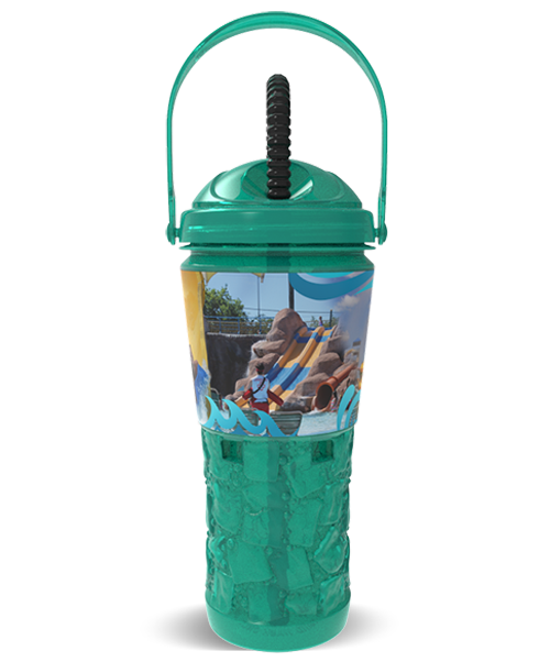 32oz Blow Molded PET Ice Sipper Bottle with Threaded Lid & Straw